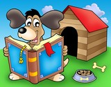 Dog with book in front of kennel poster