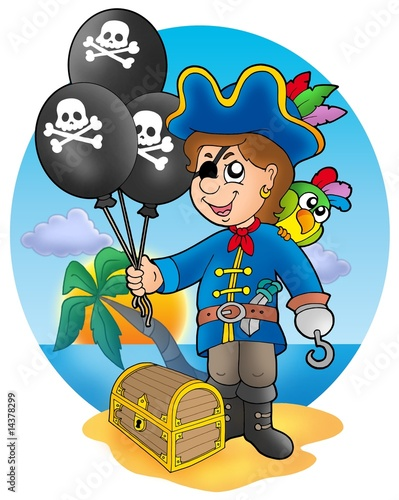 Staande foto Piraten Pirate boy with balloons on beach