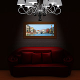 Red couch with memory about vacation in minimalist interior poster