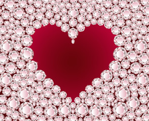 Red heart on diamond background