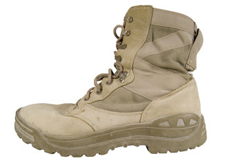 worn out desert combat boot