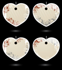 Set of beige heart-shaped labels