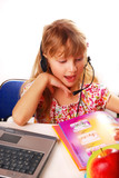 girl learning with laptop poster