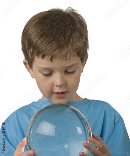 Boy Holds Crystal Ball