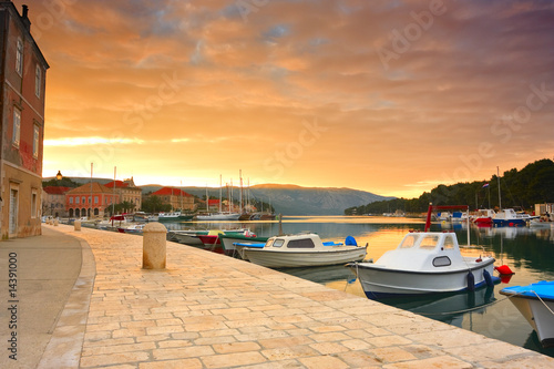 poster of quay of mediterranean town Stari Grad at sunset (Croatia, Hvar)