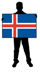 vector illustration of a man holding a flag of iceland