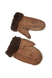 Sheepskin mittens or gloves isolated on a white background. poster