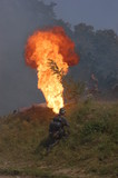 Flame-thrower. WW2 reenacting.Kiev,Ukraine poster