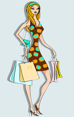 Woman / Girl with shopping bags