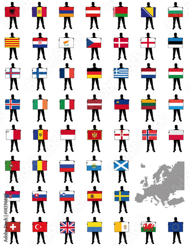 all european flags vector illustration of a man holding a flag