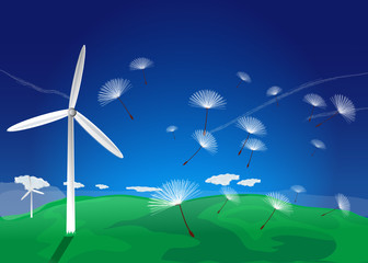 Wind turbine with dandelion seeds landscape
