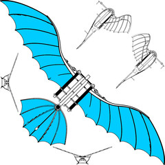 Flying Machine Leonardo da Vinci Antique Hang Glider Vector 02
