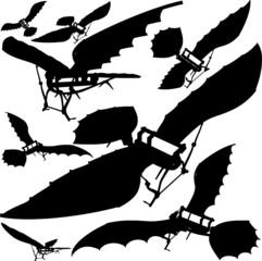 Flying Machine Leonardo da Vinci Antique Hang Glider Vector 03