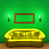 Yellow couch with empty frame and sconces in green minimalist in poster