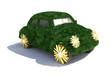 Funny green car  - ecological transport concept