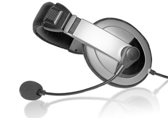 Big headset with a microphone on glass. Isolated