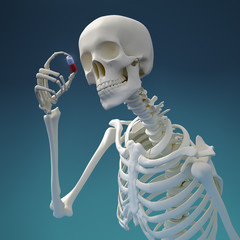 Skeleton examining a pill with medicine
