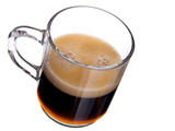 glass cap coffee with foam on white background poster