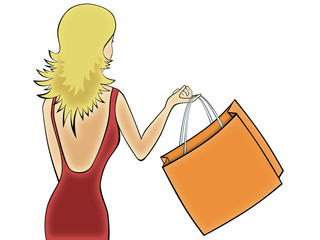 illustration   of girl  with  big yellow package