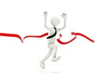 Runing man with ribbon isolated on white poster