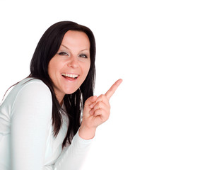 smiling woman showing empty billboard with place for your text