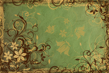 background from vintage green paper with golden swirls