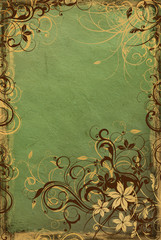 background from vintage green paper with swirls