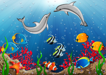 Underwater world with dolphins and tropical fishes