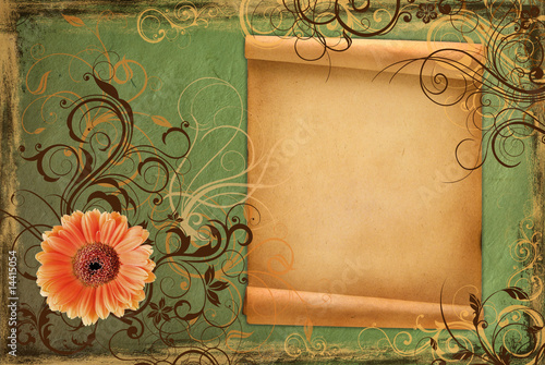 Frame on vintage green paper