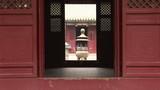 Incense burner through door, White Cloud Temple, China poster