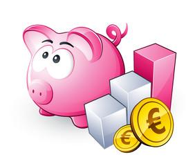 Cochon tirelire, économies et graphique en hausse