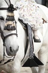 niña pequeña montando un caballo en la feria de sevilla