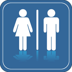 Men women restroom sign in blue with reflectio
