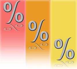variant  of percent  on  rose, yellow  and  orange  background