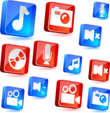 Media 3d icons. Vector illustration. poster