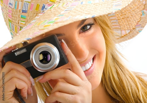 young blond portrait with camera