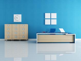 blue office interior - rendering