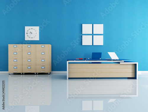 blue office interior - rendering