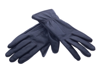 pair of black leather gloves