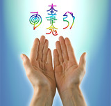 Healing hands and Reiki Symbols poster