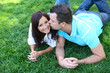 Couple Kisssing in the Park