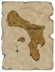 Illustrated antique map of Bonaire