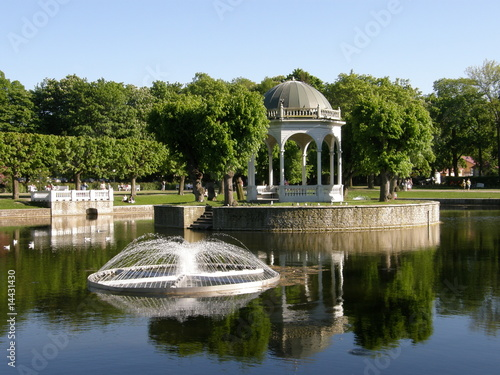 Leinwanddruck Bild Swan's pond in Tallinn