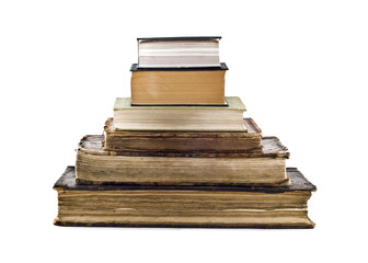 Pyramid stack of old books
