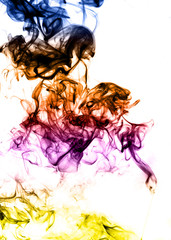 Colored Abstract fume on the white background