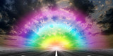 route on background celestial landscape poster