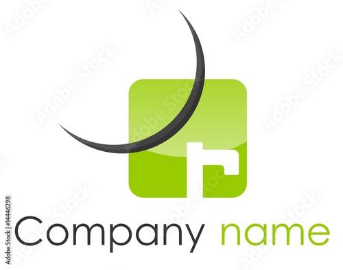 Logo R coin arrondi arc vert gris
