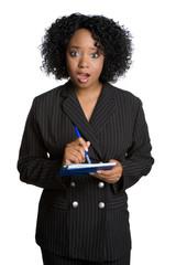 Shocked Woman Writing Checks
