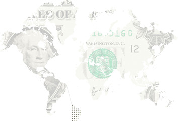Us dollar as worl map