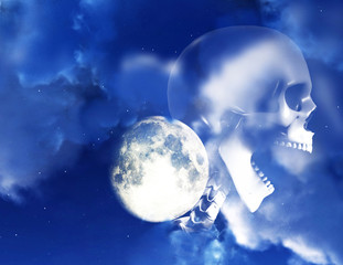 Shouting Skeleton And Nighttime Sky